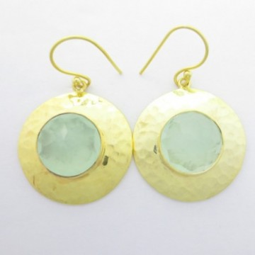 Hammered Aqua Chalcedony Gemstone Dangle Drop Earrings