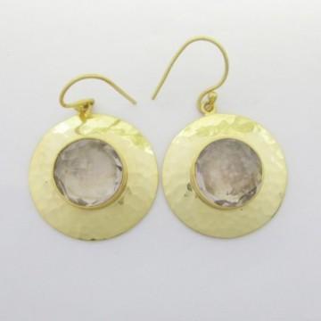 Hammered Clear Quartz Gemstone Dangle Drop Earrings