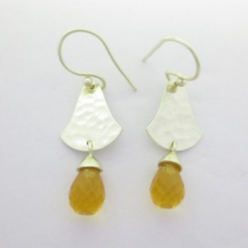 Hammered Citrine Gemstone Dangle Drop Earrings