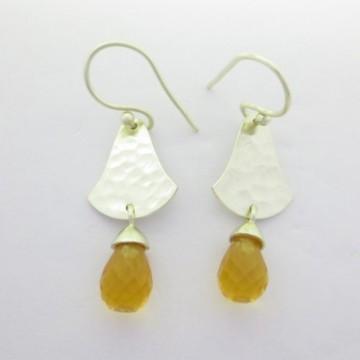 Hammered Citrine Gemstone Dangle Drop Earrings