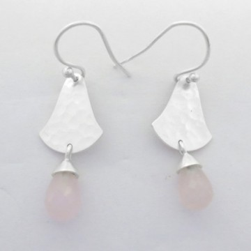 Hammered Rose Quartz Gemstone Dangle Drop Earrings