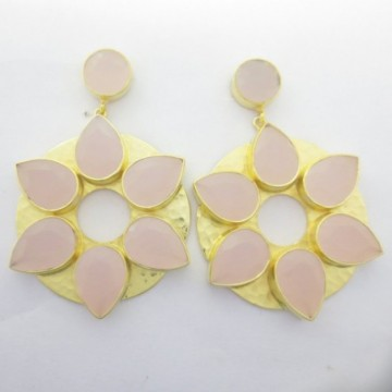 Hammered Rose Quartz  Gemstone Studs Earrings